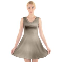 Pattern Background Stripes Karos V Neck Sleeveless Skater Dress by Nexatart