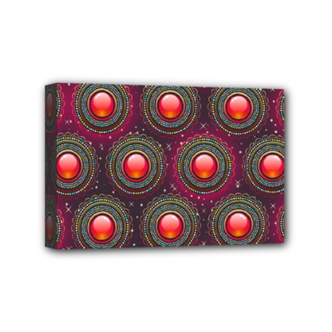 Abstract Circle Gem Pattern Mini Canvas 6  X 4  by Nexatart