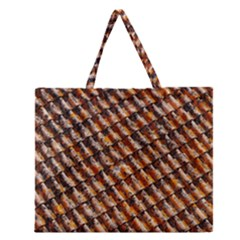 Dirty Pattern Roof Texture Zipper Large Tote Bag by Nexatart