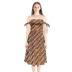 Dirty Pattern Roof Texture Shoulder Tie Bardot Midi Dress