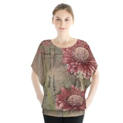 Flowers Plant Red Drawing Art Blouse by Nexatart
