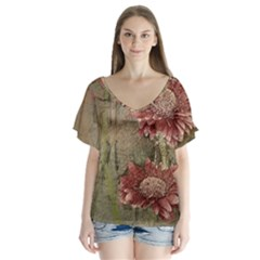 Flowers Plant Red Drawing Art Flutter Sleeve Top by Nexatart