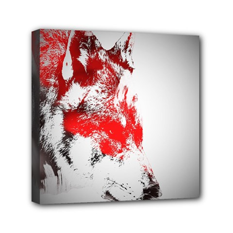 Red Black Wolf Stamp Background Mini Canvas 6  X 6