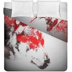Red Black Wolf Stamp Background Duvet Cover Double Side (king Size)