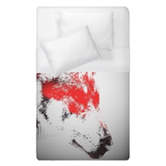 Red Black Wolf Stamp Background Duvet Cover (single Size) by Nexatart