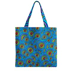 Digital Art Circle About Colorful Zipper Grocery Tote Bag by Nexatart