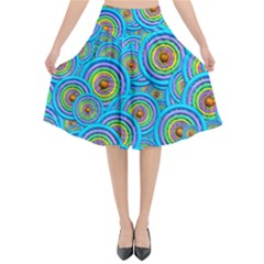 Digital Art Circle About Colorful Flared Midi Skirt by Nexatart