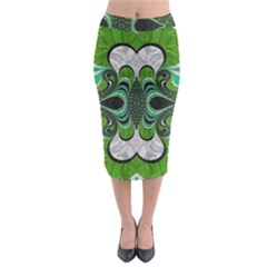 Fractal Art Green Pattern Design Midi Pencil Skirt by Nexatart
