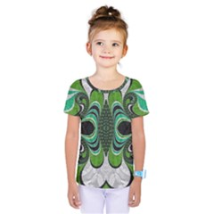 Fractal Art Green Pattern Design Kids  One Piece Tee