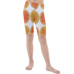 Orange Discs Orange Slices Fruit Kids  Mid Length Swim Shorts by Nexatart