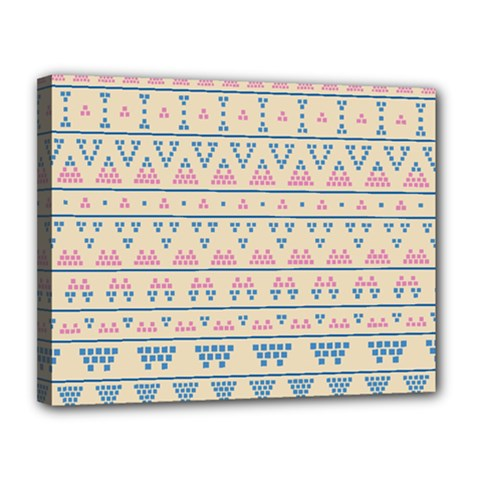 Blue And Pink Tribal Pattern Canvas 14  X 11  by berwies