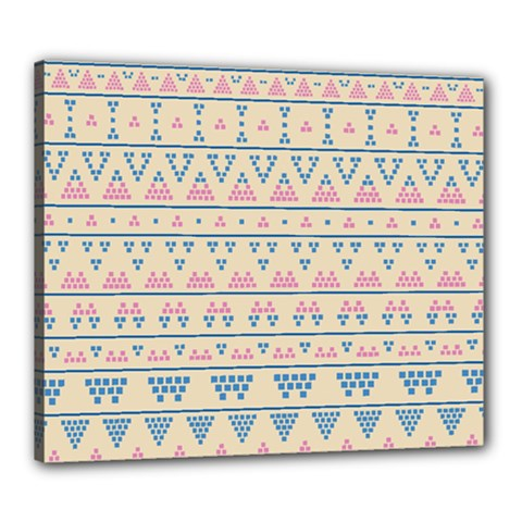 Blue And Pink Tribal Pattern Canvas 24  X 20  by berwies