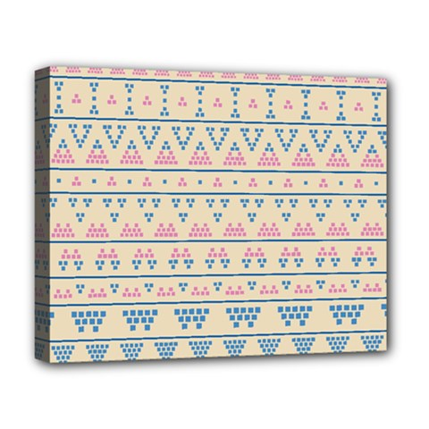 Blue And Pink Tribal Pattern Deluxe Canvas 20  X 16   by berwies