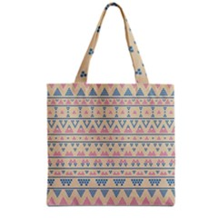 Blue And Pink Tribal Pattern Grocery Tote Bag by berwies