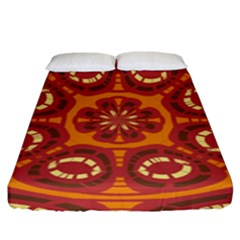 Dark Red Abstract Fitted Sheet (king Size) by linceazul
