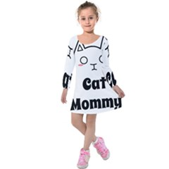 Love My Cat Mommy Kids  Long Sleeve Velvet Dress