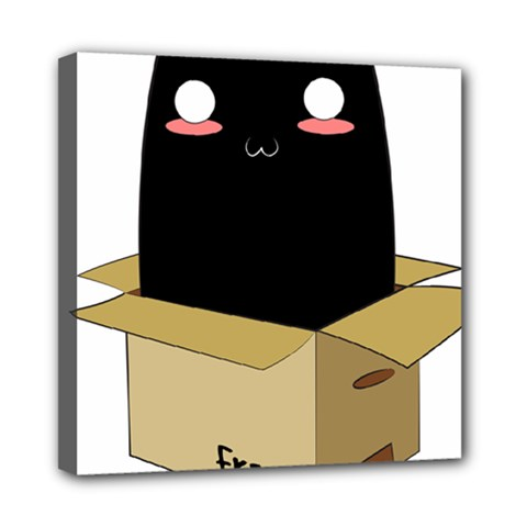 Black Cat In A Box Mini Canvas 8  X 8  by Catifornia
