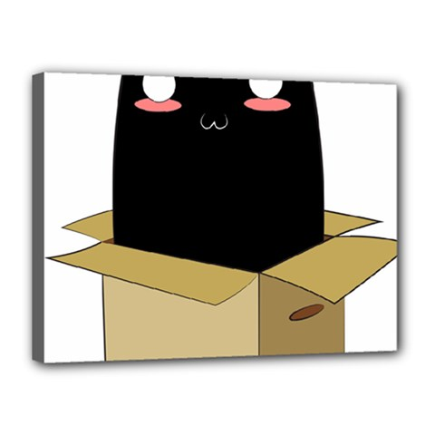 Black Cat In A Box Canvas 16  X 12  by Catifornia
