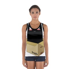 Black Cat In A Box Women s Sport Tank Top  by Catifornia