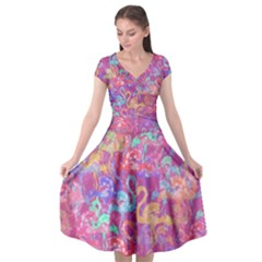 Flamingo Pattern Cap Sleeve Wrap Front Dress
