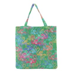 Flamingo Pattern Grocery Tote Bag by Valentinaart
