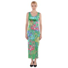 Flamingo Pattern Fitted Maxi Dress