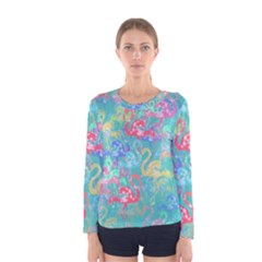 Flamingo Pattern Women s Long Sleeve Tee