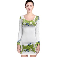 Birthday Card Flowers Daisies Ivy Long Sleeve Bodycon Dress
