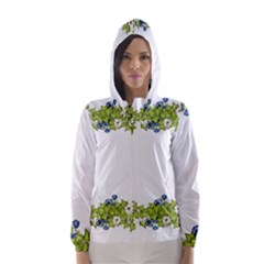 Birthday Card Flowers Daisies Ivy Hooded Wind Breaker (women)