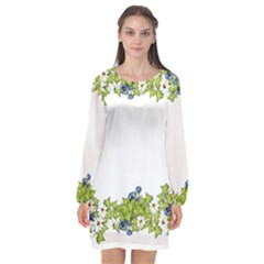 Birthday Card Flowers Daisies Ivy Long Sleeve Chiffon Shift Dress