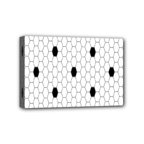 Black White Hexagon Dots Mini Canvas 6  X 4  by Mariart