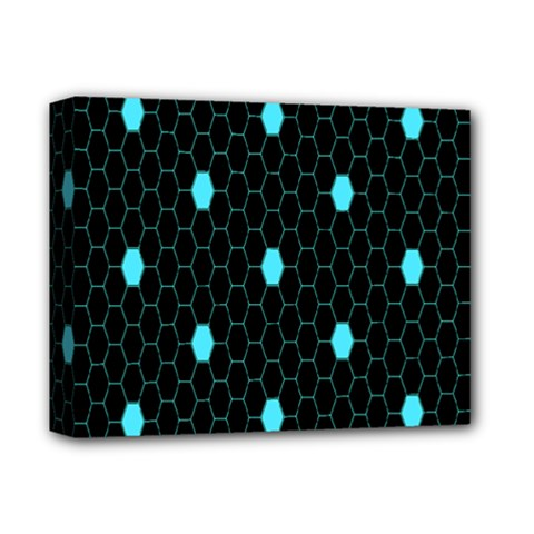 Blue Black Hexagon Dots Deluxe Canvas 14  X 11  by Mariart