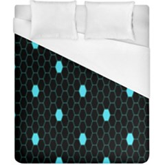 Blue Black Hexagon Dots Duvet Cover (california King Size) by Mariart