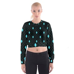 Blue Black Hexagon Dots Cropped Sweatshirt by Mariart