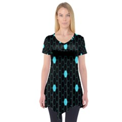 Blue Black Hexagon Dots Short Sleeve Tunic  by Mariart