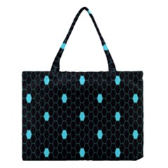 Blue Black Hexagon Dots Medium Tote Bag