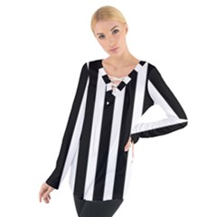 Black White Line Vertical Women s Tie Up Tee by Mariart