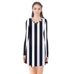 Black White Line Vertical Flare Dress by Mariart