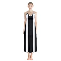 Black White Line Vertical Chiffon Maxi Dress by Mariart