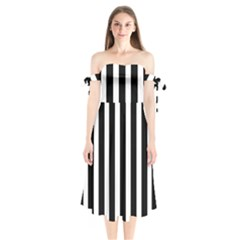Black White Line Vertical Shoulder Tie Bardot Midi Dress by Mariart