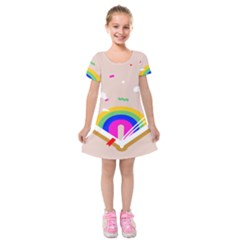 Books Rainboe Lamp Star Pink Kids  Short Sleeve Velvet Dress by Mariart