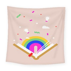 Books Rainboe Lamp Star Pink Square Tapestry (large)