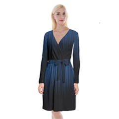 Black Blue Line Vertical Space Sky Long Sleeve Velvet Front Wrap Dress by Mariart