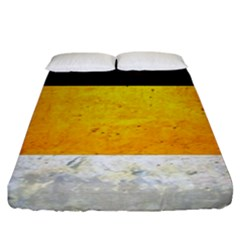 Wooden Board Yellow White Black Fitted Sheet (king Size) by Mariart