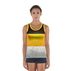 Wooden Board Yellow White Black Women s Sport Tank Top  by Mariart