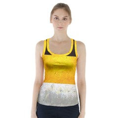 Wooden Board Yellow White Black Racer Back Sports Top