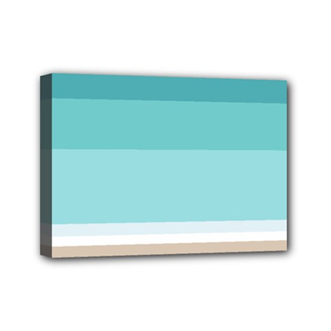 Dachis Beach Line Blue Water Mini Canvas 7  X 5
