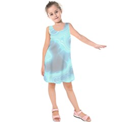 Blue Patterned Aurora Space Kids  Sleeveless Dress by Mariart