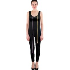 Falling Light Lines Perfection Graphic Colorful Onepiece Catsuit by Mariart