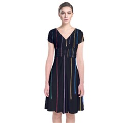 Falling Light Lines Perfection Graphic Colorful Short Sleeve Front Wrap Dress
